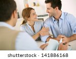 young couple meeting... | Shutterstock . vector #141886168
