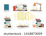set of books  flat design style.... | Shutterstock .eps vector #1418873009