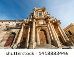 Baroque church of San Domenico (Saint Dominic) in the small town of Noto, UNESCO world heritage site, Syracuse, Sicily island, Italy, Europe