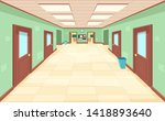 empty corridor with closed and... | Shutterstock .eps vector #1418893640