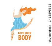 plus size ballerina in blue... | Shutterstock .eps vector #1418895533