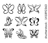 set of butterfly silhouettes... | Shutterstock .eps vector #141892363