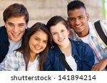 group of happy teen high school ... | Shutterstock . vector #141894214