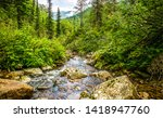 mountain forest river stream... | Shutterstock . vector #1418947760