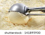 vanilla ice cream scooped out... | Shutterstock . vector #141895930