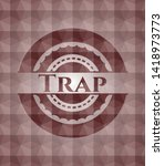 trap red polygonal badge.... | Shutterstock .eps vector #1418973773