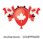 maple leaf balloon and canada... | Shutterstock .eps vector #1418990600