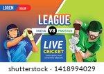 illustration of batsman playing ... | Shutterstock .eps vector #1418994029