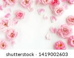 Stock photo flowers composition background beautiful pale pink roses on white background top view copy 1419002603