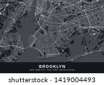Brooklyn Map. Dark Poster With...