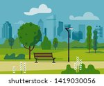 city park with modern bench and ... | Shutterstock .eps vector #1419030056