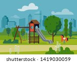 kids playground in city park... | Shutterstock .eps vector #1419030059