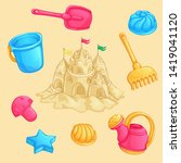 summer set of sand toys and a... | Shutterstock .eps vector #1419041120