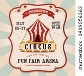 vintage circus banner with... | Shutterstock . vector #1419056363