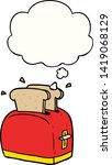 cartoon toaster with thought... | Shutterstock .eps vector #1419068129