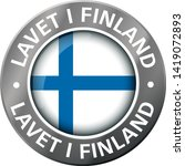 made in finland flag metal icon  | Shutterstock .eps vector #1419072893