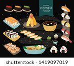 japanese food collection. black ... | Shutterstock .eps vector #1419097019