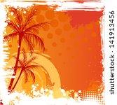 Palm Trees On Orange Sunset...