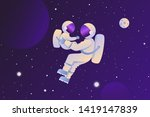 astronaut with a child in space.... | Shutterstock .eps vector #1419147839