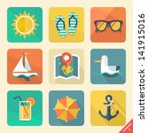 vector summer icons. flat... | Shutterstock .eps vector #141915016