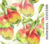 Watercolor Pears  Seamless...