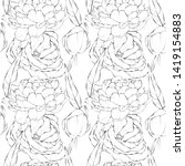 pattern with contour flowers... | Shutterstock . vector #1419154883