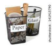 assorted trash in bucket... | Shutterstock . vector #141915790