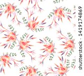 watercolor floral stamless... | Shutterstock . vector #1419174869