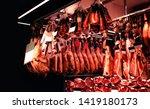spanish pork jamon on a market... | Shutterstock . vector #1419180173