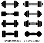 dumbbell icons. vector... | Shutterstock .eps vector #141918280