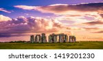 Stonehenge At Sunset In United...