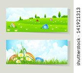 set of easter cards with... | Shutterstock . vector #141921313