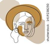 simple vogue beauty portrait of ... | Shutterstock .eps vector #1419238250