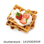 Yummy Waffles With Whipped...