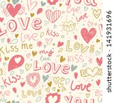 romantic seamless pattern with... | Shutterstock .eps vector #141931696