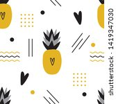 ananas seamless pattern with... | Shutterstock .eps vector #1419347030