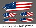 usa flag paintbrush on gray... | Shutterstock .eps vector #1419397550
