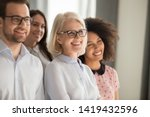 side view of smiling diverse... | Shutterstock . vector #1419432596