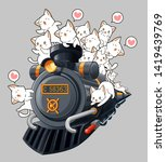 kawaii cats on the locomotive... | Shutterstock .eps vector #1419439769