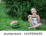 happy little child girl eating... | Shutterstock . vector #1419504650
