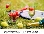 tennis game. strawberries ... | Shutterstock . vector #1419520553