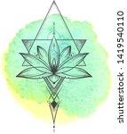 lotus flower . sacred geometry. ... | Shutterstock .eps vector #1419540110
