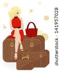 girl traveler sitting on a... | Shutterstock . vector #141957028