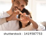 smiling young dad and little... | Shutterstock . vector #1419587753