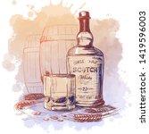 scotch whiskey bottle  glass...   Shutterstock .eps vector #1419596003
