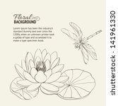 Water Lily And Dragonfly Sepia. ...