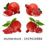 fresh pomegranate isolated on... | Shutterstock . vector #1419616886