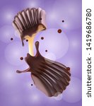 chocolate candy with splash and ... | Shutterstock .eps vector #1419686780