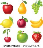 fruit icons vector in colors... | Shutterstock .eps vector #1419694376