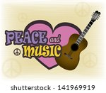 peace and music over grunge... | Shutterstock .eps vector #141969919